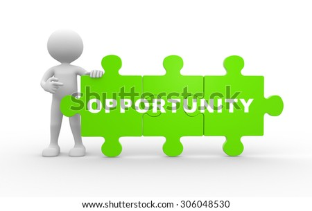3d people - man , person with pieces of puzzle. Opportunity - stock photo