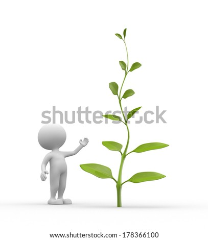 3d people - man, person with plant - stock photo
