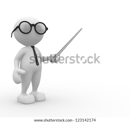 3d people - man, person with pointer on white background - stock photo