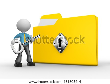 3d people - man, person with protected folder holding key in his hand. - stock photo