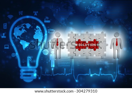 3d people - man, person with puzzle. Solution concept - stock photo