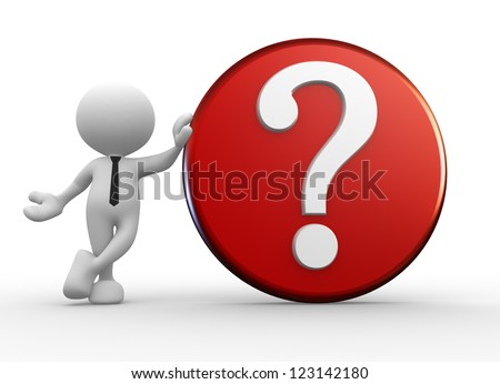 3d people - man, person with question mark. - stock photo