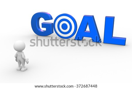 """3d people - man, person with red word """"goal"""" as a target.  - stock photo"""