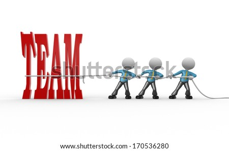 3d people - man, person with rope pulling and word team
