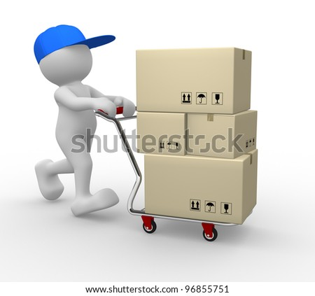 3d people - man, person  with shopping cart ( hand trucks ) and cargo boxes - stock photo