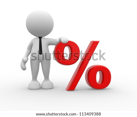 3d people - man, person with sign percent. %. The discount offer