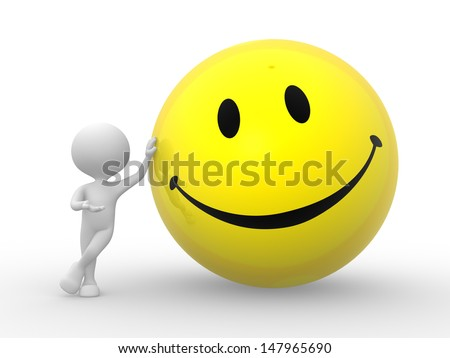 3d people - man, person with smile sign - stock photo