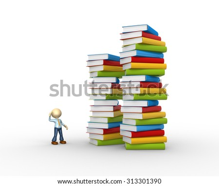 3d people - man , person with stack of books