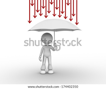 3d people - man, person with umbrella and arrows. Protection against problems  - stock photo