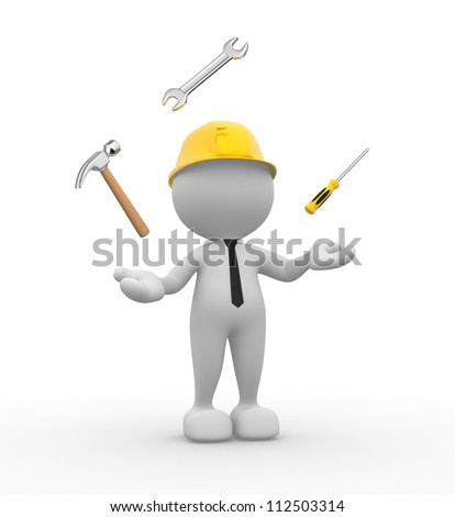 3d people - man, person with wrench, hammer and a screwdriver. Juggling with tools. - stock photo