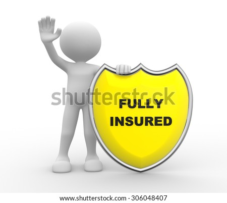 3d people - man , person with Yellow shield and text Fully Insured