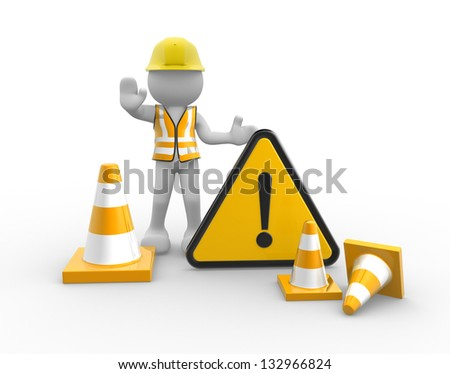3d people - man, person worker with traffic coins and warning sign - stock photo