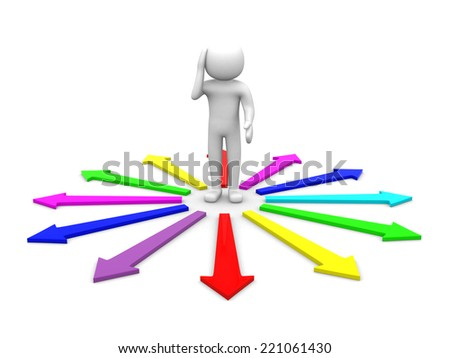 3d people man surrounded by directional signs . Confusion  - stock photo