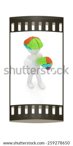 3d people - man with a brain. The film strip - stock photo