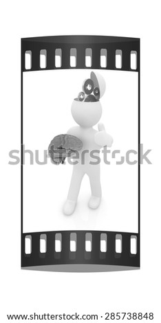 3d people - man with half head, brain and thumb up. Concept of technical solutions with gears. The film strip - stock photo