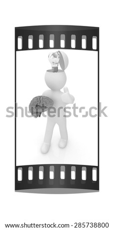 3d people - man with half head, brain and thumb up. Idea concept. The film strip - stock photo