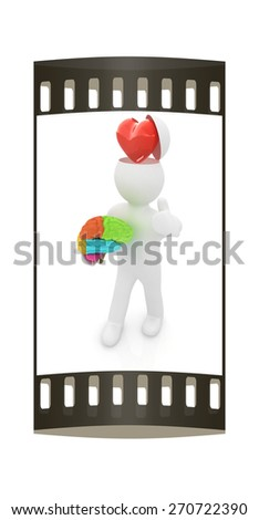 3d people - man with half head, brain and thumb up. Love concept with heart. The film strip - stock photo