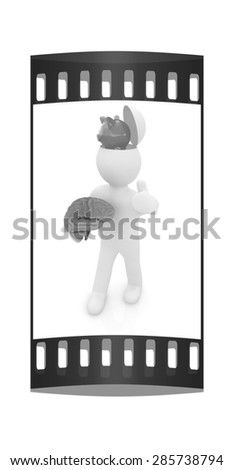 3d people - man with half head, brain and thumb up. Saving concept with piggy bank. The film strip - stock photo