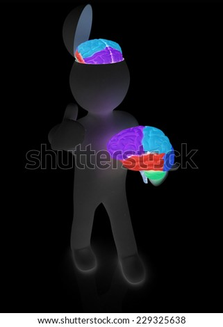 3d people - man with half head, brain and trumb up.  - stock photo