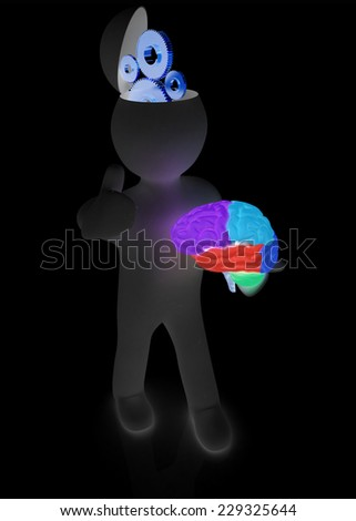 3d people - man with half head, brain and trumb up. Concept of technical solutions with gears - stock photo