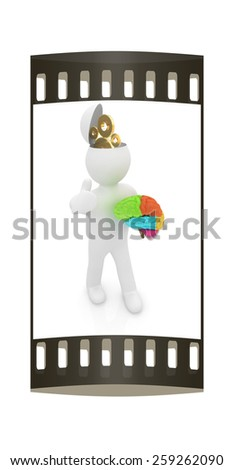 3d people - man with half head, brain and trumb up. Concept of technical solutions with gears. The film strip - stock photo