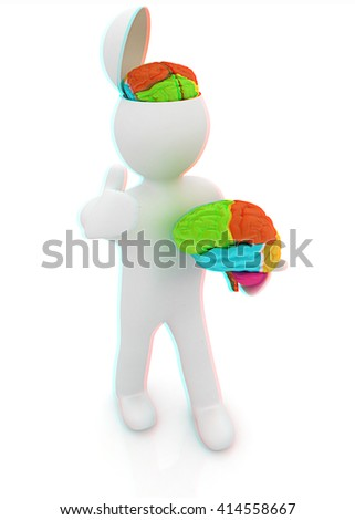 3d people - man with half head, brain and trumb up. . 3D illustration. Anaglyph. View with red/cyan glasses to see in 3D.