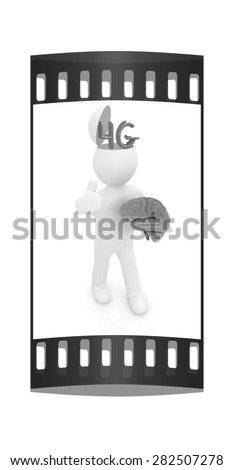 3d people - man with half head, brain and trumb up. 4g modern internet network. The film strip - stock photo