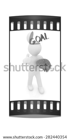 3d people - man with half head, brain and trumb up. Goal concept. The film strip - stock photo