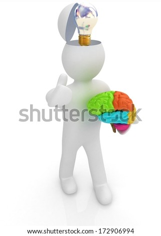 3d people - man with half head, brain and trumb up. Idea concept