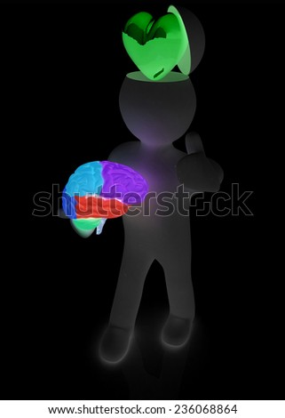 3d people - man with half head, brain and trumb up. Love concept with heart - stock photo