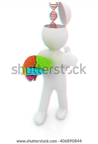 3d people - man with half head, brain and trumb up. Medical concept with DNA model. 3D illustration. Anaglyph. View with red/cyan glasses to see in 3D. - stock photo