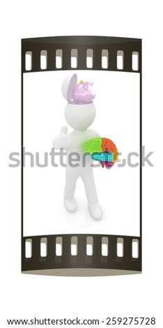 3d people - man with half head, brain and trumb up. Saving concept with piggy bank. The film strip - stock photo