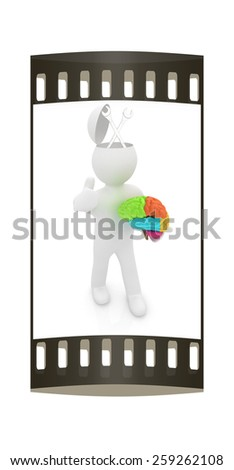 3d people - man with half head, brain and trumb up. Service concept with wrench. The film strip - stock photo