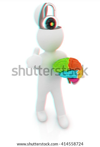 3d people - man with half head, brain and trumb up. The concept of protection with lock. 3D illustration. Anaglyph. View with red/cyan glasses to see in 3D. - stock photo