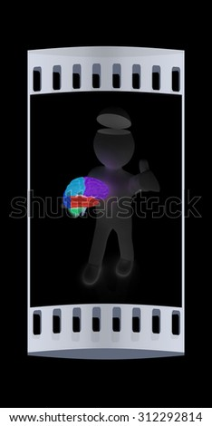 3d people - man with half head, brain and trumb up. The film strip - stock photo