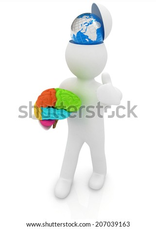 3d people - man with half head, brain and trumb up. Traveling concept with earth