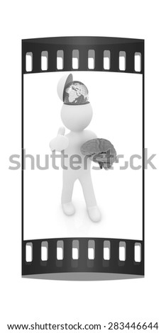 3d people - man with half head, brain and trumb up. Traveling concept with earth. The film strip - stock photo