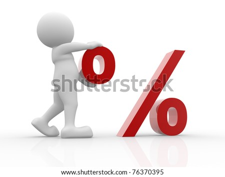 3d people - man with percent . - stock photo