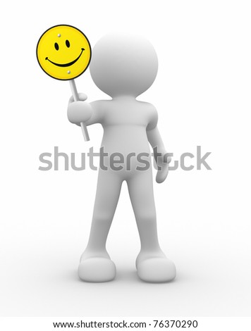 3d people - man with smiling yellow sign.