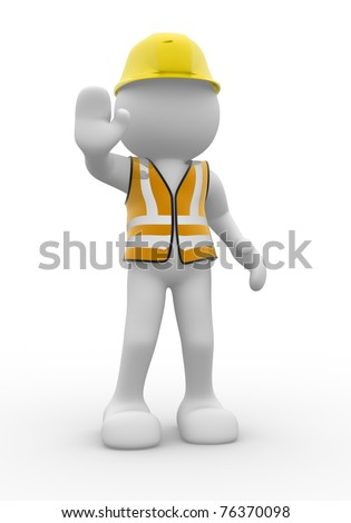 3d people  - man with vest and helmet
