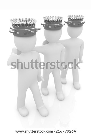3d people - mans, persons with a golden crown. Kings - stock photo
