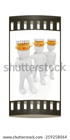 3d people - mans, persons with a golden crown. Kings. The film strip - stock photo