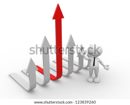 3d people - men, person and a graph arrow - stock photo