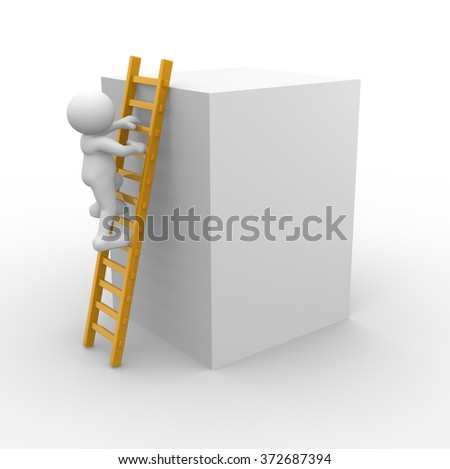 3d people - men, person and a ladder.  To Success  - stock photo