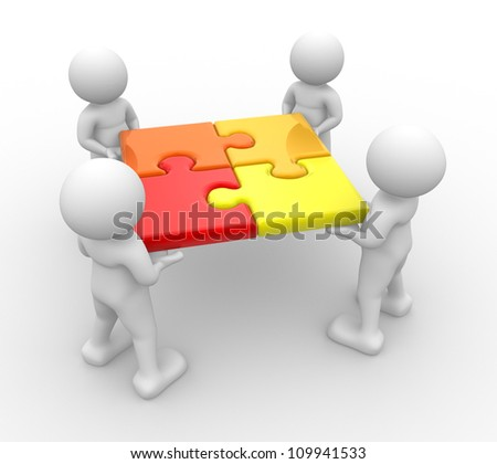 3d people - men, person and a pieces jigsaw ( puzzle ) .