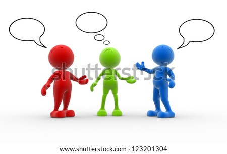 3d people - men, person and blank bubbles - stock photo