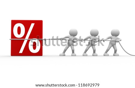 3d people - men, person and discount sign. %. To Success