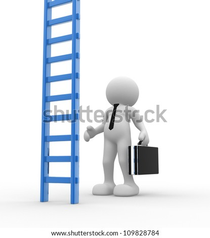 3d people - men , person and ladder. Ladder to success. Businessman