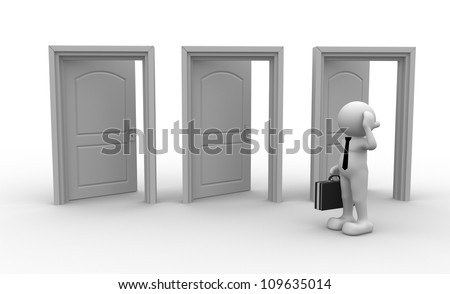 3d people - men, person and open doors. Businessman - stock photo