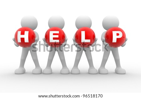 """3d people - men, person and spheres the word """"Help"""" - stock photo"""